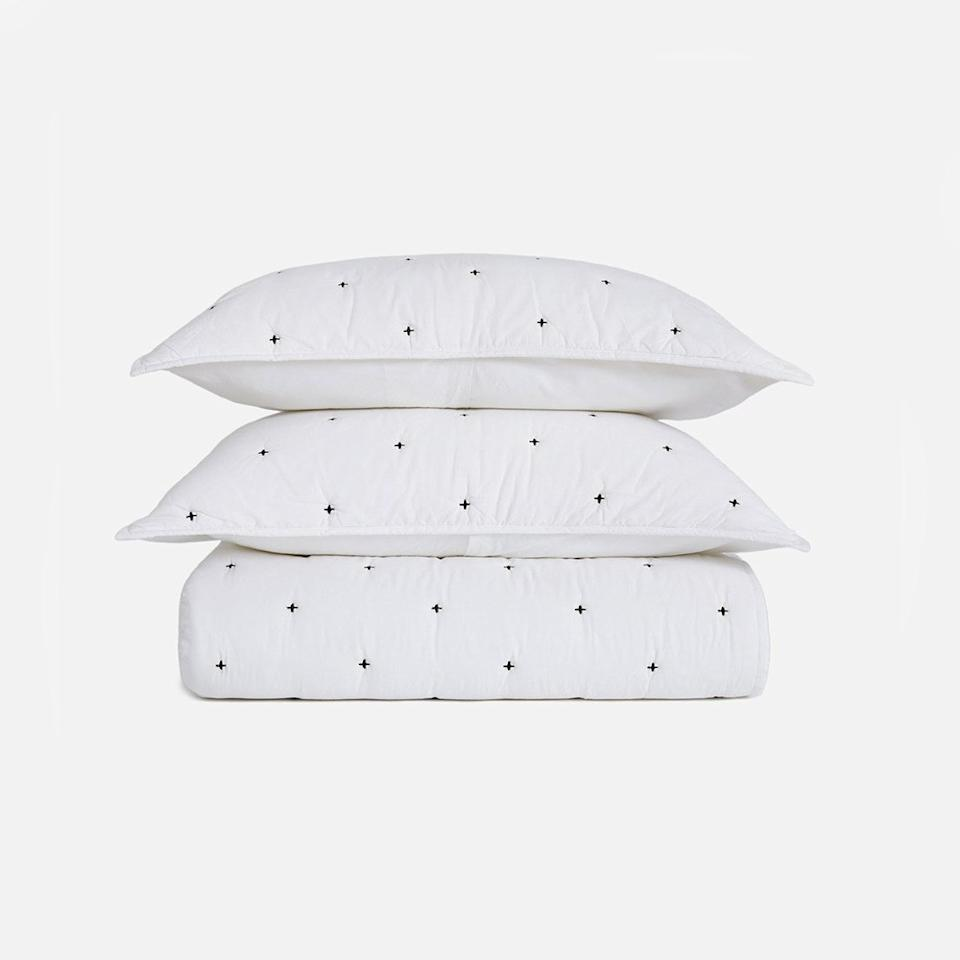 """<p>This crisp black-and-white quilt set instantly dresses up a room. It's better suited for colder weather months since it comes in a thicker material, which is ideal if you've been searching for a winter blanket.</p> <p><strong>Buy it:</strong> $299, <a href=""""https://www.brooklinen.com/collections/blankets-and-shams/products/lightweight-quilt-set?variant=15411690995802"""" rel=""""nofollow"""">brooklinen.com</a></p>"""