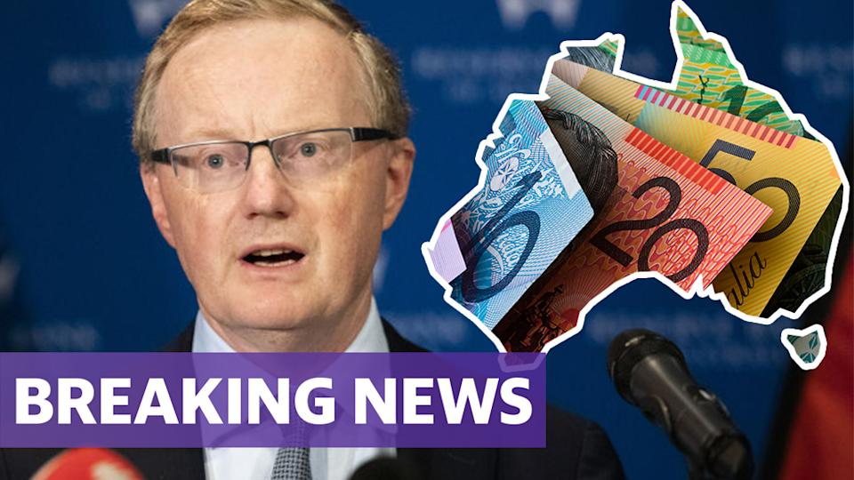 RBA governor Philip Lowe with the outline of Australia and Australian money with a breaking news banner.