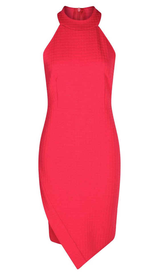 """<p>Fading into the background isn't your style. Fearless, energetic red is your<span>power color, and the pointed hem of this dress is a nod to April babies' birthstone — diamonds!</span></p><p><span></span></p><p><span><em>High Neck Asymmetric Wrap Bodycon Dress, $35, <a rel=""""nofollow"""" href=""""http://us.boohoo.com/mai-high-neck-asymmetric-wrap-bodycon-dress/DZZ85260.html?color=157"""">boohoo.com</a></em><br></span></p>"""