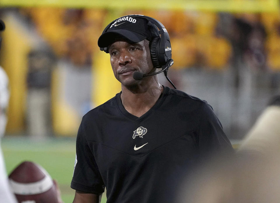 Colorado head coach Karl Dorrell reacts to an Arizona State touchdown against his defense during the second half of an NCAA college football game Saturday, Sept. 25, 2021, in Tempe, Ariz. (AP Photo/Darryl Webb)