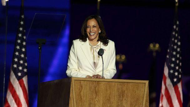 PHOTO: Vice President-elect Kamala Harris addresses the nation from the Chase Center, Nov. 07, 2020, in Wilmington, Del. (Tasos Katopodis/Getty Images)