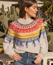 """For Zoom-heavy days, a detailed neckline can offset the reality that you're dialing in from three-days-old <a href=""""https://www.glamour.com/gallery/best-pajamas-loungewear-shopping?mbid=synd_yahoo_rss"""" rel=""""nofollow noopener"""" target=""""_blank"""" data-ylk=""""slk:pajama pants"""" class=""""link rapid-noclick-resp"""">pajama pants</a>. $220, Shopbop. <a href=""""https://www.shopbop.com/payton-sweater-saylor/vp/v=1/1507054574.htm?"""" rel=""""nofollow noopener"""" target=""""_blank"""" data-ylk=""""slk:Get it now!"""" class=""""link rapid-noclick-resp"""">Get it now!</a>"""