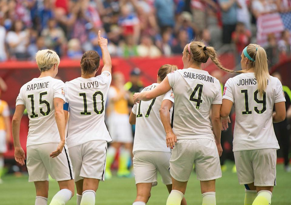 Carli Lloyd of team USA gestures to the crowd after her third goal during 2015 women's World Cup Soccer in Vancouver during the final between USA and Japan. (Photo by Christopher Morris/Corbis via Getty Images)
