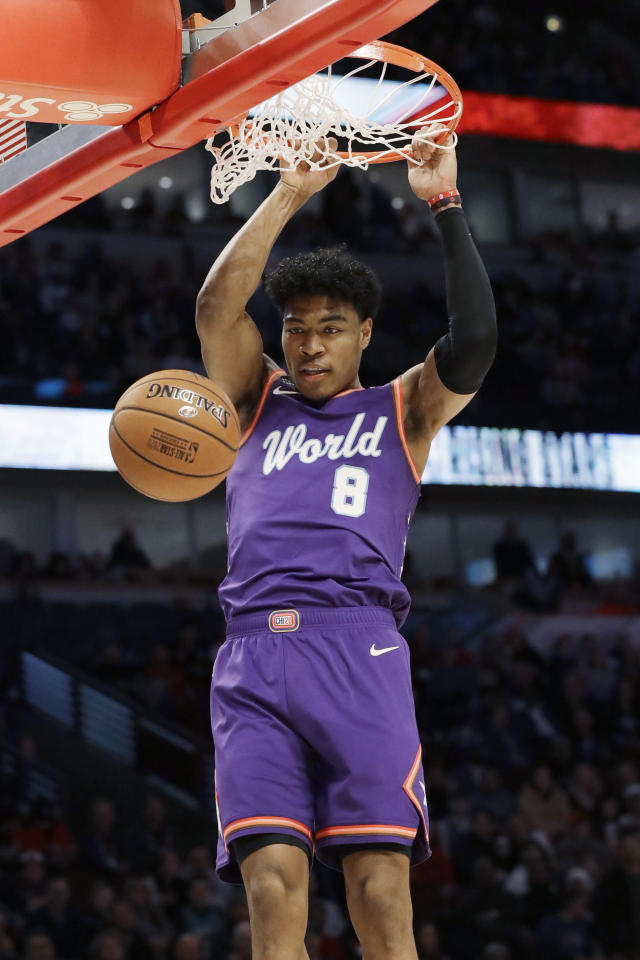 World forward Rui Hachimura, of the Washington Wizards, dunks against the U.S. during the first half of the NBA Rising Stars basketball game in Chicago, Friday, Feb. 14, 2020. (AP Photo/Nam Y. Huh)
