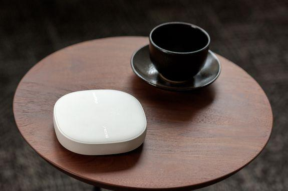 The design of the SmartThings Wifi is small and simple, meaning it won't be obtrusive in your home.