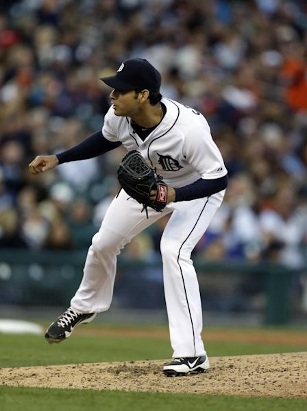 Detroit Tigers starting pitcher Anibal Sanchez throws during the fifth inning of a baseball game against the Minnesota Twins in Detroit, Friday, May 24, 2013. (AP Photo/Carlos Osorio)