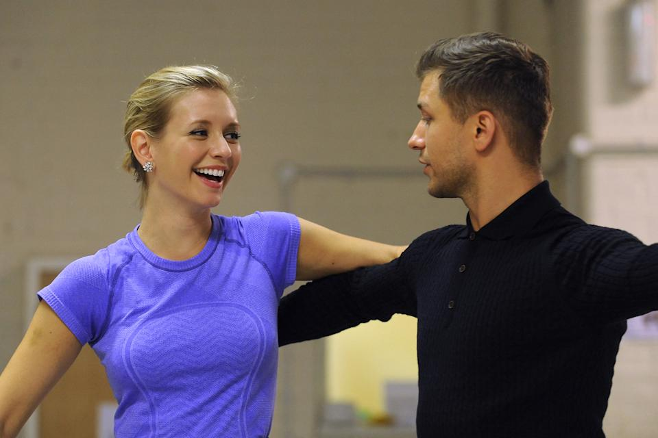EMBARGOED TO 0001 SATURDAY SEPTEMBER 28. Rachel Riley and Pasha Kovalev rehearse their waltz at Ace Dance & Music, Birmingham ahead of their first dance on Strictly Come dancing.