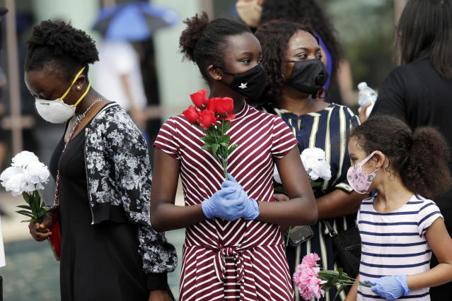 Mourners arrive at a public viewing for George Floyd in Houston. (Eric Gay/AP)