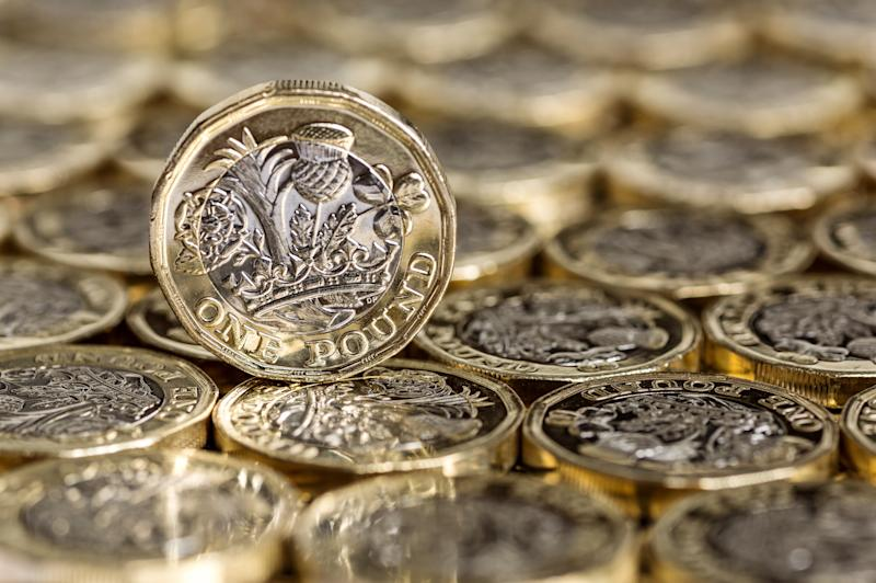 Close up of one pound coin