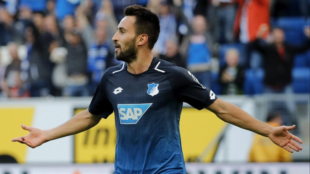 Lukas Rupp celebrates scoring a goal for Hoffenheim in the 2-0 win over Schalke