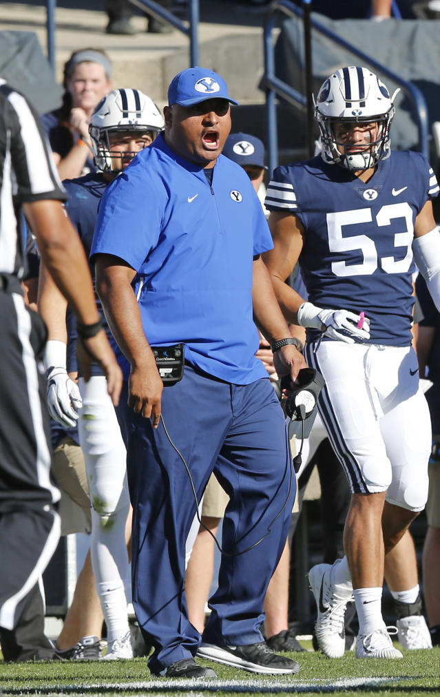 BYU head coach Kalani Sitake shouts to his team in the first half during an NCAA college football game against McNeese State Saturday, Sept. 22, 2018, in Provo, Utah. (AP Photo/Rick Bowmer)
