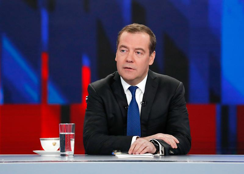 Russian Prime Minister Dmitry Medvedev gives a live interview on the annual results of the government work to journalists of Russia's television channels in Moscow on December 5, 2019. (Photo by Dmitry Astakhov / SPUTNIK / AFP) (Photo by DMITRY ASTAKHOV/SPUTNIK/AFP via Getty Images)