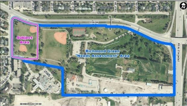 The City of Calgary is selling a portion of Richmond Green park, in the upper left corner, to fund park improvements and increase the green space. (City of Calgary - image credit)