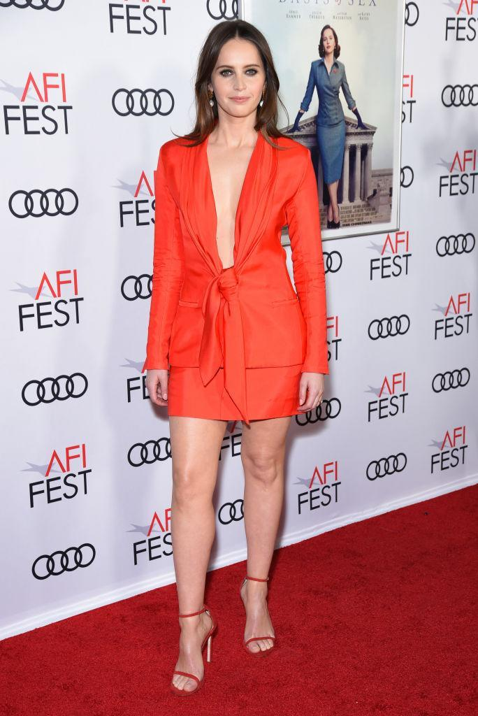 <p>On November 8, actress Felicity Jones wore a red co-ord (complete with matching shoes) for the premiere of 'The Basis of Sex' in California. <em>[Photo: Getty]</em> </p>