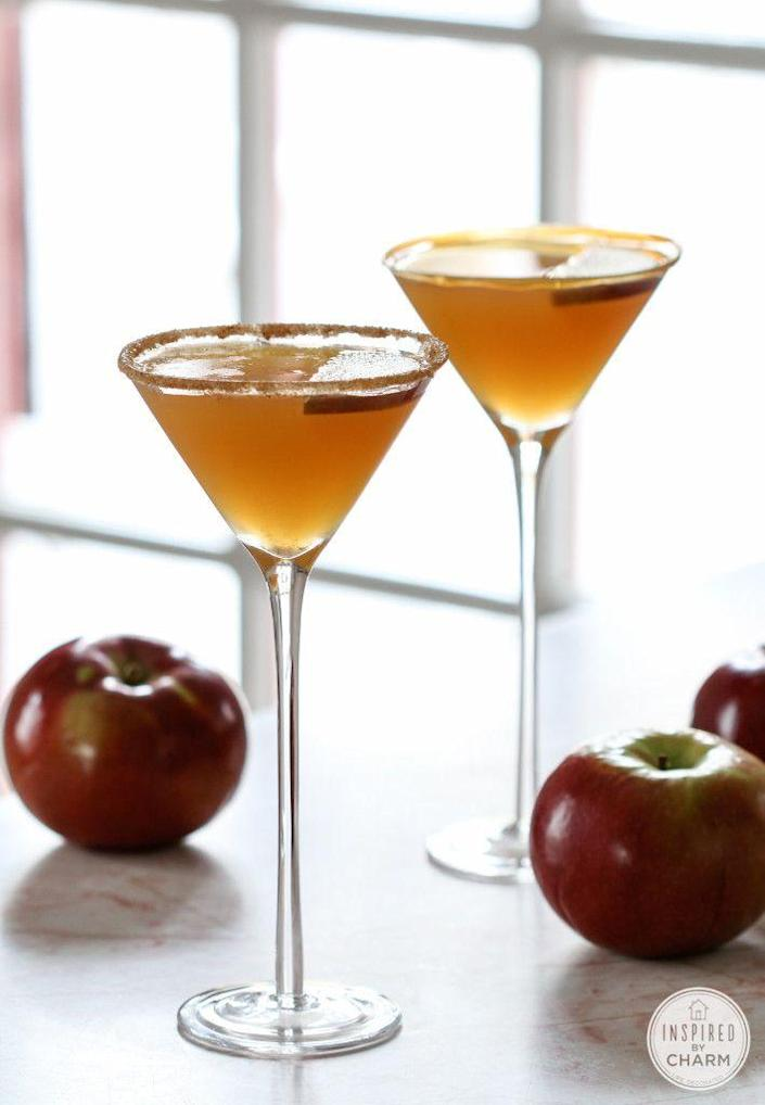 """<p>Apple martini's are even better with some caramel mixed in.</p><p>Get the recipe from <a href=""""http://www.inspiredbycharm.com/2014/08/caramel-apple-martini.html"""" rel=""""nofollow noopener"""" target=""""_blank"""" data-ylk=""""slk:Inspired By Charm"""" class=""""link rapid-noclick-resp"""">Inspired By Charm</a>.</p>"""