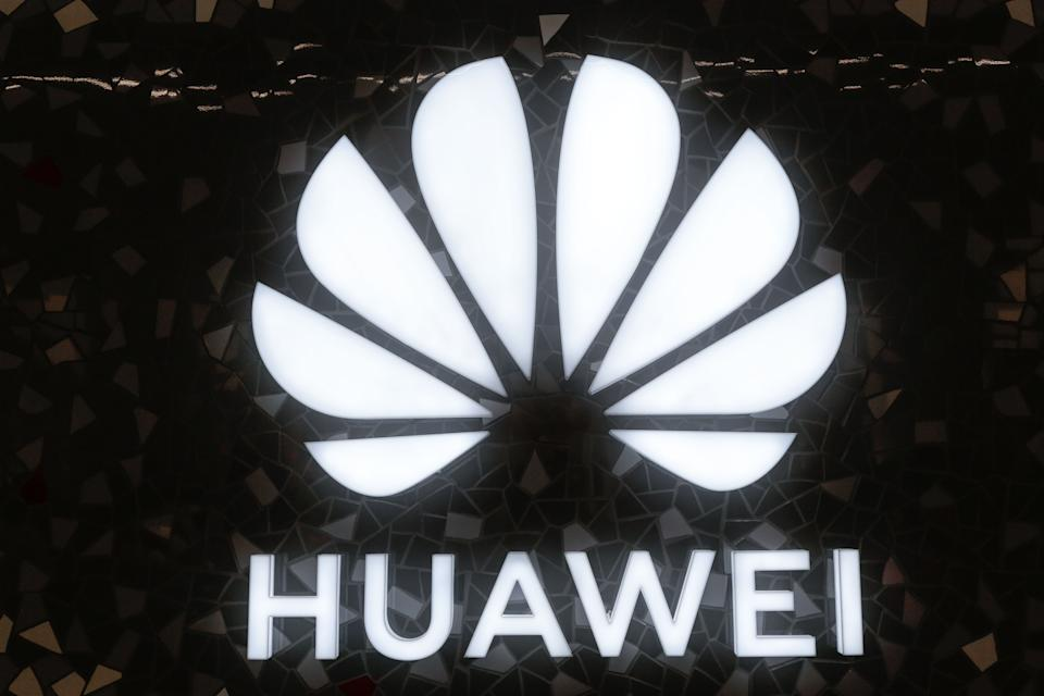 BARCELONA, SPAIN - FEBRUARY 22: A Huawei's logo is seen during the inauguration of the Huawei Flag Ship Barcelona at Plaça Catalunya on February 22, 2020 in Barcelona, Spain. (Photo by Miquel Benitez/Getty Images)