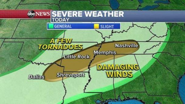 PHOTO: Another threat for this region today is severe weather and a slight risk of severe storms has been issued from just east of Dallas to southern Kentucky, including Shreveport, Little Rock, Memphis and Nashville. (ABC News)
