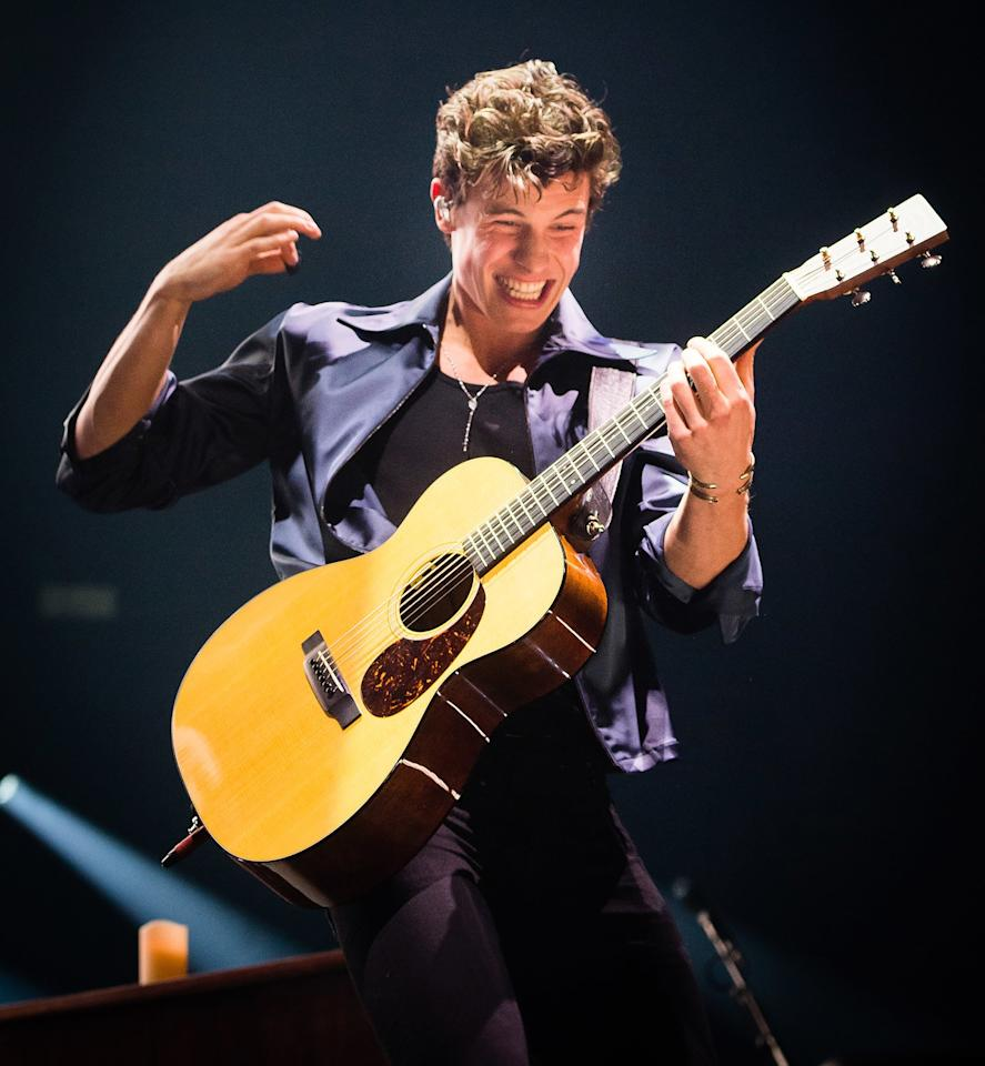 Shawn Mendes wows the crowd as he performs on stage at The O2 Arena on Tuesday in London.