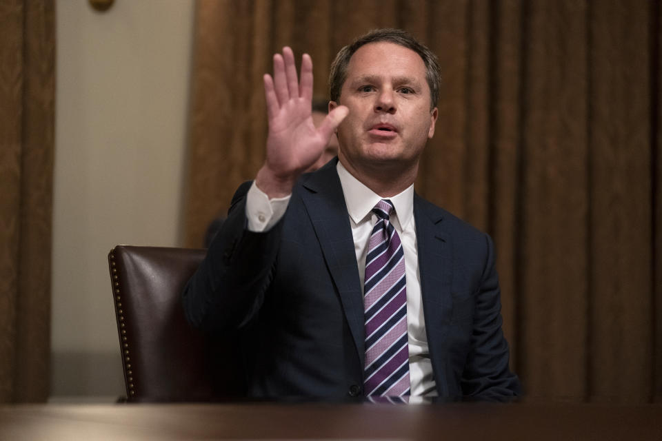 Walmart CEO Doug McMillon speaks during a meeting with President Donald Trump on coronavirus testing, in the Cabinet Room of the White House, Monday, April 27, 2020, in Washington. (AP Photo/Evan Vucci)