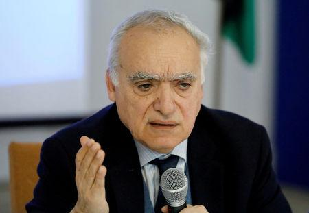 FILE PHOTO: U.N. envoy to Libya Ghassan Salame gestures during a meeting with southern Libyan groups in Tripoli