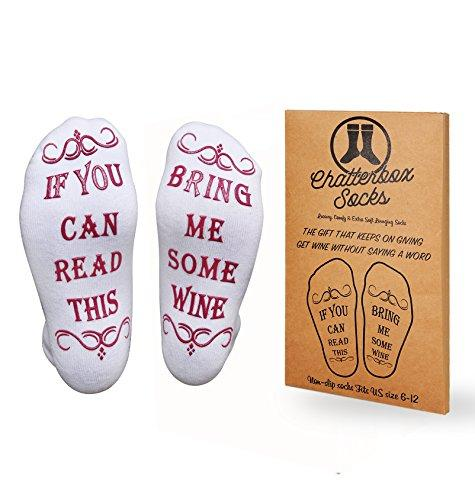 Luxury Premium Brushed Cotton Bring Me Some Wine Socks - Perfect Host / Hostess or Housewarming Gift Idea, Birthday Present, Mother's Day or Bachelorette Party for a Wine Lover - One Size fits All - (Amazon)