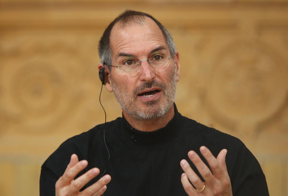 BERLIN - SEPTEMBER 19:  Apple head Steve Jobs speaks at a press conference to announce that T-Mobile will be the partner for selling the iPhone in Germany September 19, 2007 in Berlin, Germany. The iPhone will go on sale for EUR 399 in Germany starting November 9.  (Photo by Sean Gallup/Getty Images)