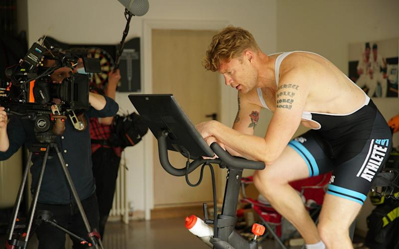 Flintoff exercising at home - Charlie Melville/BBC