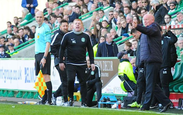 <span>Neil Lennon on the sidelines at Easter Road as Hibernian manager</span> <span>Credit: Rex Features </span>