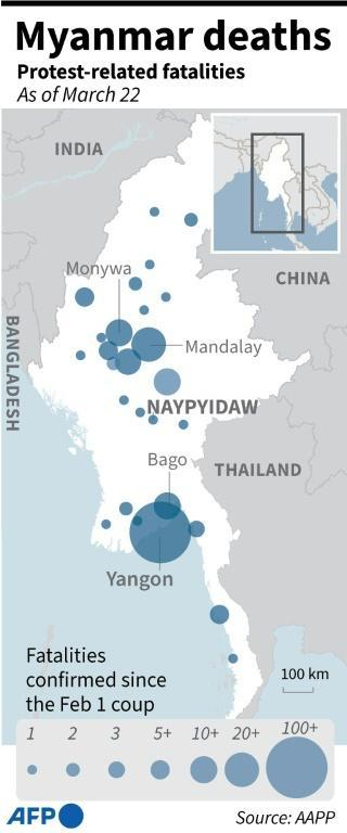 Myanmar cities where protest-related fatalities have been reported since the junta takeover on February 1