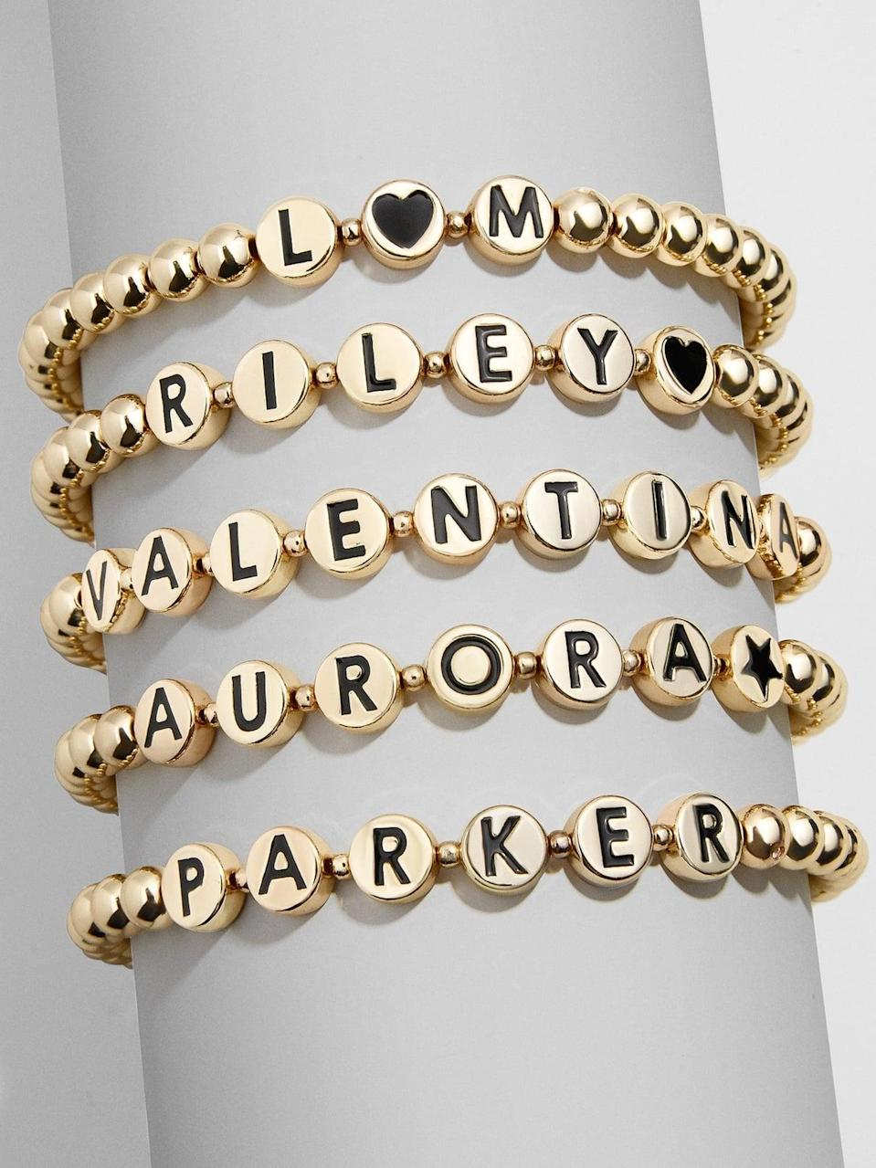 <p>Layer these cute, fun <span>BaubleBar Custom Black Disc Pisa Bracelets</span> ($40) to create your own arm party.</p>