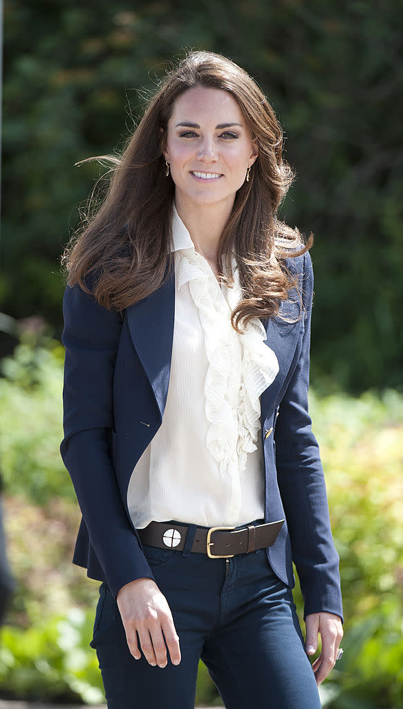 Kate rocks the Smythe blazer in blue, while visiting Alberta as part of her 2011 North American royal visit.