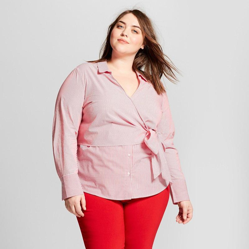 "Get it <a href=""https://www.target.com/p/women-s-plus-size-striped-long-sleeve-contrast-wrap-shirt-who-what-wear-153-pink/-/A-53170609#lnk=sametab"" target=""_blank"">here</a>."
