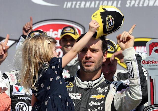Jimmie Johnson's daughter Genevieve takes his cap off in Victory Lane after the NASCAR Quicken Loans 400 auto race at Michigan International Speedway in Brooklyn, Mich., Sunday, June 15, 2014. (AP Photo/Bob Brodbeck)