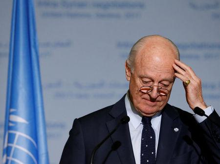 United Nations Special Envoy of the Secretary-General for Syria Staffan de Mistura attends a news conference after meetings during the Intra Syria talks at the European headquarters of the United Nations in Geneva, Switzerland March 24, 2017. REUTERS/Denis Balibouse