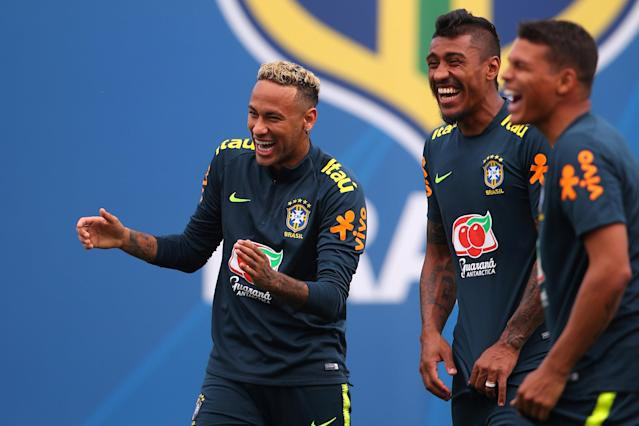 Soccer Football - World Cup - Brazil Training - Brazil Training Camp, Sochi, Russia - June 19, 2018 Brazil's Neymar and Paulinho during training REUTERS/Hannah McKay
