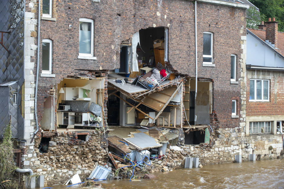 Illustration shows damage a visit to Pepinster, where heavy rainfall caused severe floods, Saturday 17 July 2021. Days of extreme weather has davestated parts of the East and South of Belgium. BELGA PHOTO NICOLAS MAETERLINCK (Photo by NICOLAS MAETERLINCK/BELGA MAG/AFP via Getty Images)