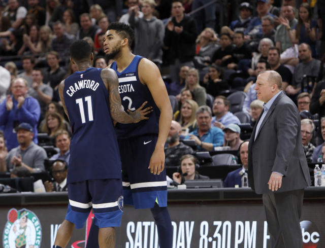 Karl-Anthony Towns received a weak ejection Friday night. (AP Photo)