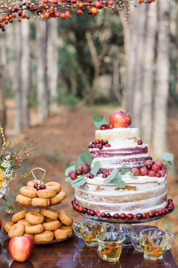 """<p>If you're planning a country-themed fall wedding, a naked cake is the way to go. The reason? There's something about a naked cake that feels so rustic—you can even """"dress"""" it up with fresh fruits like <a href=""""https://2birdsevents.com/"""" rel=""""nofollow noopener"""" target=""""_blank"""" data-ylk=""""slk:2Birds Events"""" class=""""link rapid-noclick-resp"""">2Birds Events</a> did here.</p>"""