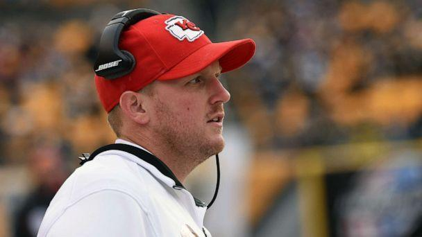 PHOTO: Quality control coach Britt Reid of the Kansas City Chiefs looks on from the sideline before a game against the Pittsburgh Steelers at Heinz Field on Dec. 21, 2014 in Pittsburgh. (George Gojkovich/Getty Images)