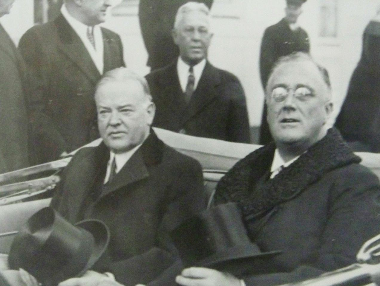 "This March 4, 1933 photo provided by the New-York Historical Society courtesy  of the Franklin D. Roosevelt Presidential Library and Museum, Hyde Park, New York shows President-elect Franklin D. Roosevelt going to his Inauguration with the outgoing President Herbert Hoover as they share a tense ride to the Capitol in Washington, D.C. The picture is part of a new exhibit at the New-York Historical Society, titled ""A New President Takes Command: FDR's First Hundred Days."" (AP Photo/Franklin D. Roosevelt Presidential Library and Museum)**NO SALES**"