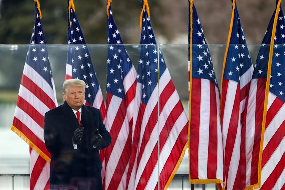<p>President Donald Trump greets the crowd at the 'Stop The Steal' Rally on 6 January 2021 in Washington, DC</p> ((Getty Images))