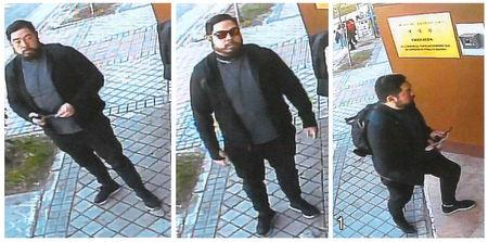 A combination photo of former U.S. Marine Christopher Philip Ahn  allegedly shown in a still photo from a surveillance camera standing in front of and entering the North Koria embassy in Madrid, Spain, February 22, 2019.    U.S. Attorney's Office Central District of California/Handout via REUTERS