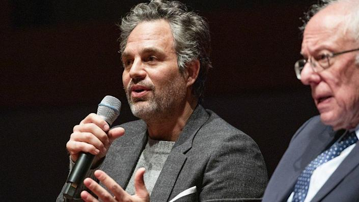 Sen. Bernie Sanders and actor Mark Ruffalo (left) participate in a roundtable discussion at the U.S. Capitol on strategies to combat the widespread contamination of America's drinking water on January 29, 2020 in Washington, DC.