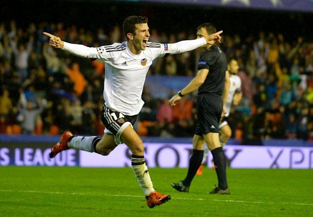 Valencia's defender Jose Gaya celebrates after scoring during the UEFA Champions League group H football match Valencia CF vs KAA Gent at the Mestalla stadium in Valencia on October 20, 2015 (AFP Photo/Jose Jordan)