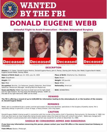 An FBI Wanted poster for Donald Eugene Webb is pictured in this handout photo