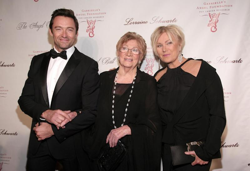 From left, actor Hugh Jackman, his mother-in-law Fay Duncan and wife Deborra-Lee Furness attend Angel Ball 2013 on Tuesday, Oct. 29, 2013, in New York. (Photo by Andy Kropa/Invision/AP)
