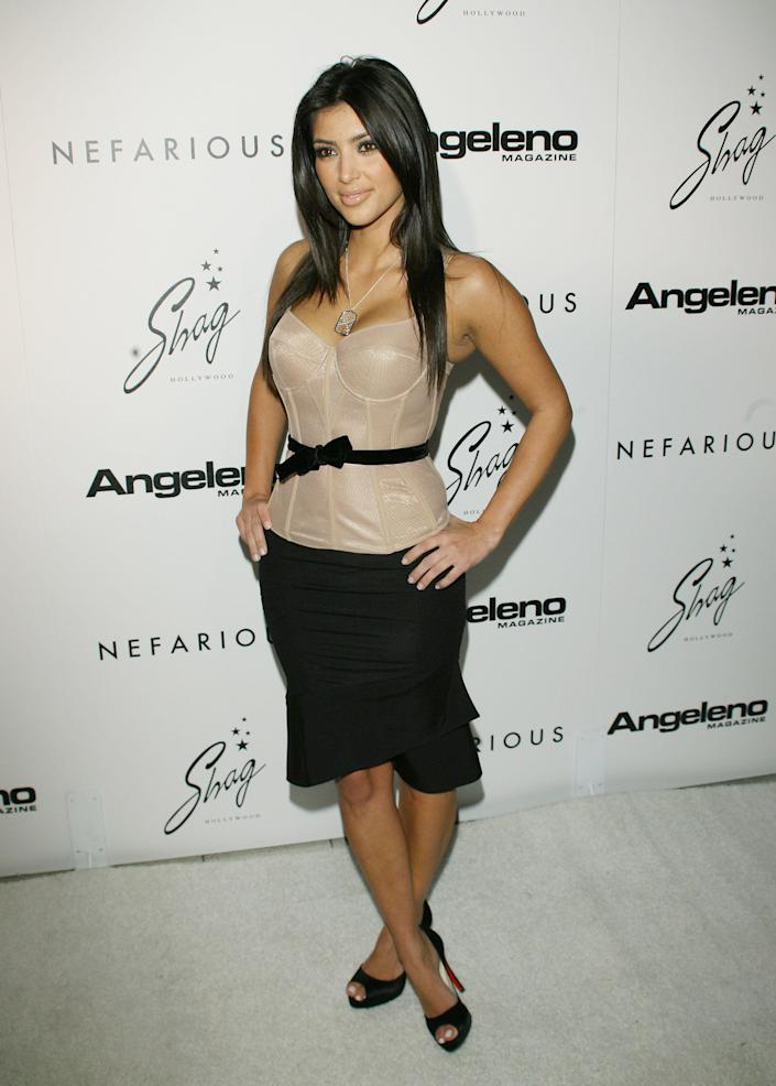 Kim Kardashian during Nefarious Fine Jewelry - Spring 2007 Collection and Holiday Party at Shag in Hollywood, California, United States. (Photo by Michael Tran/FilmMagic)