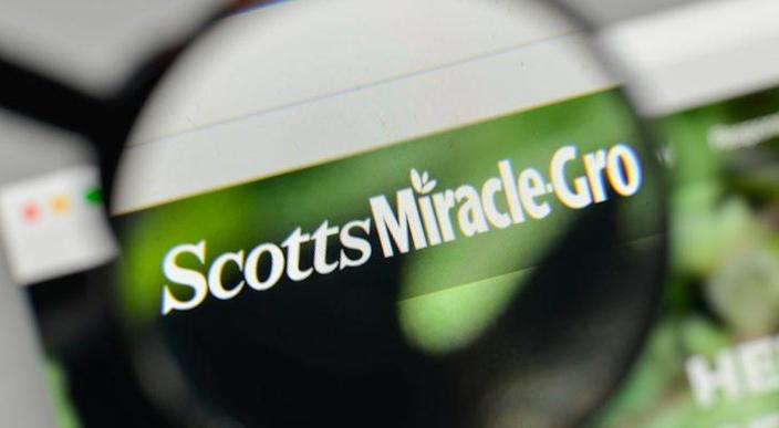 Scotts Miracle-Gro (SMG) logo displayed on a web browser and magnified by a magnifying glass