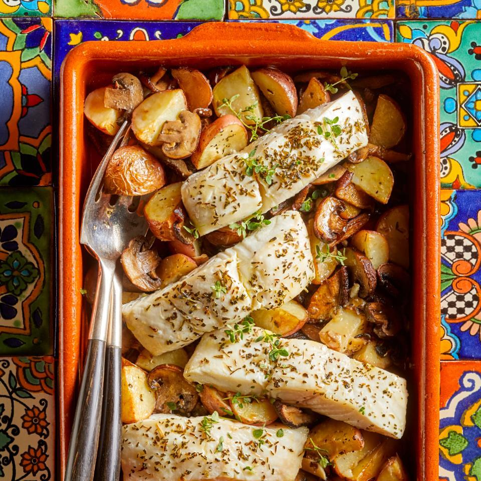 """<p>This easy healthy meal--which requires just 15 minutes of active time--is typical of southern France. You can use halibut, grouper or cod for this simple Mediterranean baked fish recipe, so just choose what looks best at your market. Look for herbes de Provence, an aromatic spice blend, at most grocery stores. <a href=""""http://www.eatingwell.com/recipe/274830/provencal-baked-fish-with-roasted-potatoes-mushrooms/"""" rel=""""nofollow noopener"""" target=""""_blank"""" data-ylk=""""slk:View recipe"""" class=""""link rapid-noclick-resp""""> View recipe </a></p>"""