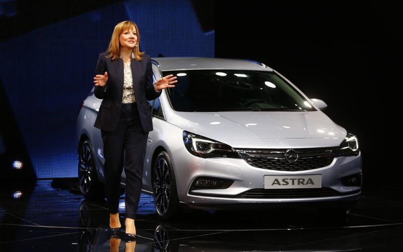 General Motors CEO Mary Barra presents the new Opel Astra during the media day at the Frankfurt Motor Show (IAA) in Frankfurt